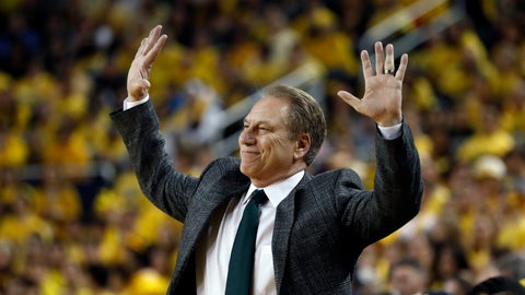 <p>               Michigan State head coach Tom Izzo reacts during the first half of an NCAA college basketball game against Michigan, Sunday, Feb. 24, 2019, in Ann Arbor, Mich. (AP Photo/Carlos Osorio)             </p>