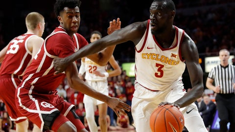 <p>               Iowa State guard Marial Shayok drives past Oklahoma guard Jamal Bieniemy, left, during the second half of an NCAA college basketball game, Monday, Feb. 25, 2019, in Ames, Iowa. Shayok scored 21 points as Iowa State won 78-61. (AP Photo/Charlie Neibergall)             </p>