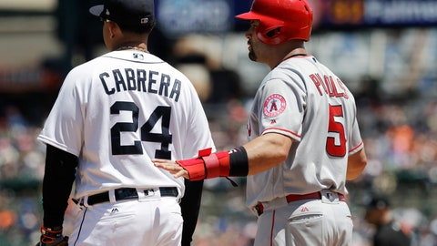 <p>               FILE - In this June 8, 2017, file photo, Los Angeles Angels designated hitter Albert Pujols talks with Detroit Tigers first baseman Miguel Cabrera during the fourth inning of a baseball game, in Detroit. Opponents getting friendly during games hasn't always been such a thing. With so many players now switching teams, sharing agents or staying in touch via social media, there are more opportunities to get to know someone you might see only a handful of times.(AP Photo/Carlos Osorio, File)             </p>