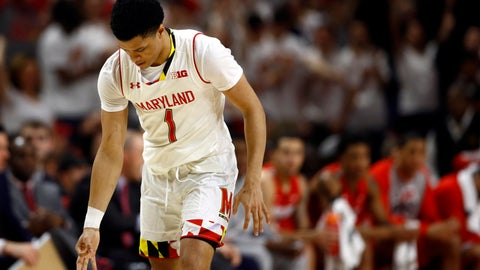 <p>               Maryland guard Anthony Cowan Jr. gestures after making a 3-pointer in the first half of an NCAA college basketball game against Ohio State, Saturday, Feb. 23, 2019, in College Park, Md. (AP Photo/Patrick Semansky)             </p>