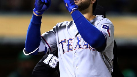 <p>               FILE - In this Sept. 7, 2018, file photo, Texas Rangers' Joey Gallo celebrates after hitting a two-run home run against the Oakland Athletics during the fourth inning of a baseball game, in Oakland, Calif. Gallo is back as a full-time outfielder after consecutive 40-homer seasons. (AP Photo/Ben Margot, File)             </p>