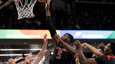 <p>               Rutgers forward Eugene Omoruyi (5) shoots against Northwestern during the first half of an NCAA college basketball game, Wednesday, Feb. 13, 2019, in Evanston, Ill. (AP Photo/Nam Y. Huh)             </p>