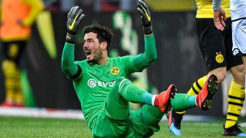 <p>               Dortmund goalkeeper Roman Buerki reacts during the German Bundesliga soccer match between Borussia Dortmund and TSG 1899 Hoffenheim in Dortmund, Germany, Saturday, Feb. 9, 2019. (AP Photo/Martin Meissner)             </p>