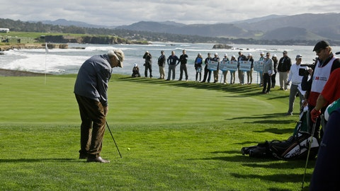<p>               Clint Eastwood chips the ball to the 18th green during the celebrity challenge event of the AT&T Pebble Beach National Pro-Am golf tournament Wednesday, Feb. 6, 2019, in Pebble Beach, Calif. (AP Photo/Eric Risberg)             </p>