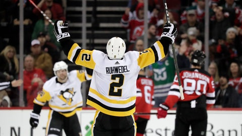 <p>               Pittsburgh Penguins defenseman Chad Ruhwedel reacts after scoring a goal on the New Jersey Devils during the second period of an NHL hockey game, Tuesday, Feb. 19, 2019, in Newark, N.J. (AP Photo/Julio Cortez)             </p>