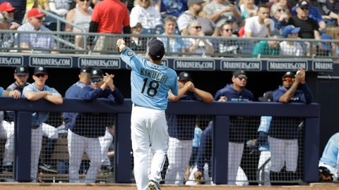 <p>               Seattle Mariners' Yusei Kikuchi tosses a baseball to fans during the first inning of a spring training baseball game against the Cincinnati Reds, Monday, Feb. 25, 2019, in Peoria, Ariz. (AP Photo/Darron Cummings)             </p>