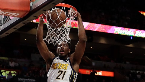 <p>               FILE - In this Feb. 2, 2019, file photo, Indiana Pacers forward Thaddeus Young dunks against the Miami Heat in the first half of an NBA basketball game, in Miami. When All-Star guard Victor Oladipo crashed to the floor in late January, the silence inside Bankers Life Fieldhouse was deafening. Starting forwards Thaddeus Young, a co-captain, and Bojan Bogdanovic reasserted themselves as leaders _ just like when the Pacers went 7-4 without Oladipo in November and December. (AP Photo/Brynn Anderson, File)             </p>