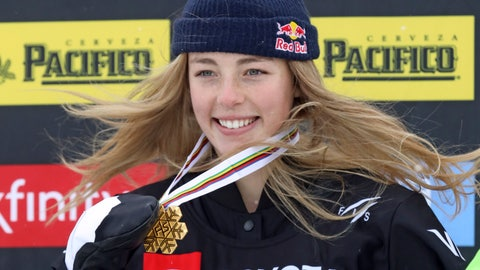 <p>               First-place finisher Zoi Sadowski-Synnott, of New Zealand, celebrates on the podium following the women's slopestyle snowboard world championship Sunday, Feb. 10, 2019, in Park City, Utah. (AP Photo/Rick Bowmer)             </p>