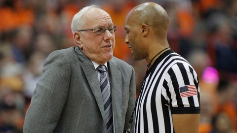<p>               Syracuse head coach Jim Boeheim, left, talks to an official about a call during the second half of an NCAA college basketball game against Louisville in Syracuse, N.Y., Wednesday, Feb. 20, 2019. Syracuse won 69-49. (AP Photo/Nick Lisi)             </p>