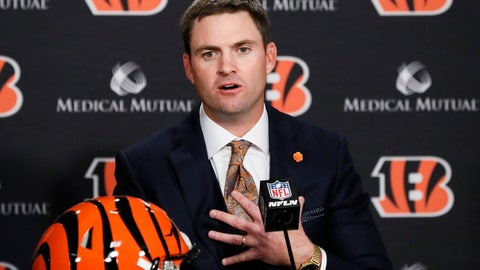 <p>               Cincinnati Bengals football head coach Zac Taylor speaks during a news conference, Tuesday, Feb. 5, 2019, in Cincinnati. After 16 years without a playoff win under Marvin Lewis, the Bengals decided to try something different. But they had to wait more than a month before hiring Zac Taylor as their next coach in hopes of ending a long streak of futility. (AP Photo/John Minchillo)             </p>