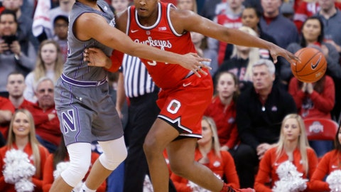<p>               Northwestern's Barret Benson, left, knocks the ball away from Ohio State's Kaleb Wesson during the first half of an NCAA college basketball game Wednesday, Feb. 20, 2019, in Columbus, Ohio. (AP Photo/Jay LaPrete)             </p>