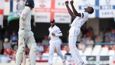 <p>               West Indies' captain Jason Holder celebrates the dismissal of England's James Anderson during day three of the second Test cricket match at the Sir Vivian Richards Stadium in North Sound, Antigua and Barbuda, Saturday, Feb. 2, 2019. (AP Photo/Ricardo Mazalan)             </p>