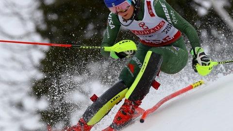 <p>               United States' Mikaela Shiffrin competes during the women's slalom, at the alpine ski World Championships in Are, Sweden, Saturday, Feb. 16, 2019. (AP Photo/Alessandro Trovati)             </p>