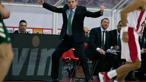 """<p>               FILE - In this Jan. 4, 2019, file photo, Panathinaikos coach Rick Pitino reacts during a Euroleague basketball match between Panathinaikos and Olympiakos in Piraeus near Athens, Greece. Greece's government has condemned a walkout by the basketball club Olympiakos during a Greek Cup semifinal game against rival Panathinaikos following complaints over the refereeing. Olympiakos forfeited the game at Olympic Stadium in Athens on Wednesday, Feb. 13, 2019, leaving at halftime and trailing 40-25. A spokesman for the team said he was """"disgusted"""" with the quality of the refereeing. The action handed Panathinaikos and American coach Pitino a place in Sunday's cup final against PAOK in Crete. (AP Photo/Petros Giannakouris)             </p>"""