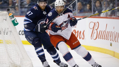 <p>               Winnipeg Jets' Adam Lowry (17) chases Columbus Blue Jackets' Seth Jones (3) around the net during the second period of an NHL hockey game Thursday, Jan. 31, 2019, in Winnipeg, Manitoba. (John Woods/The Canadian Press via AP)             </p>