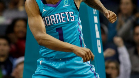 <p>               Charlotte Hornets guard Malik Monk reacts after dunking against the Memphis Grizzlies in the second half of an NBA basketball game in Charlotte, N.C., Friday, Feb. 1, 2019. (AP Photo/Nell Redmond)             </p>