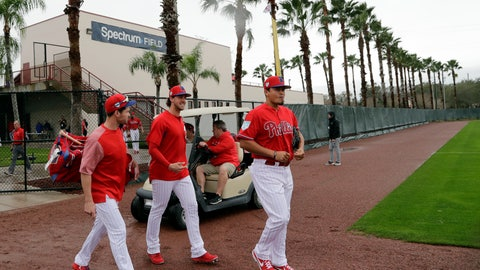 <p>               Philadelphia Phillies catcher Andrew Knapp, left, starting pitcher Aaron Nola, center, and relief pitcher Victor Arano, right, walk onto the field at the Philadelphia Phillies spring training baseball facility, Wednesday, Feb. 13, 2019, in Clearwater, Fla. (AP Photo/Lynne Sladky)             </p>