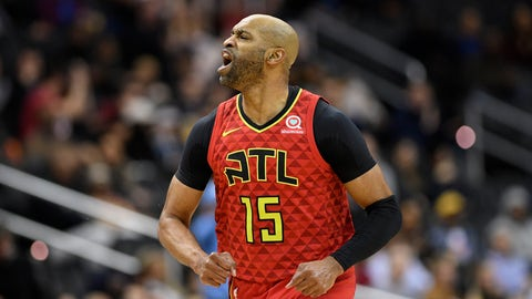 <p>               Atlanta Hawks forward Vince Carter (15) reacts after he made a basket during the second half of an NBA basketball game against the Washington Wizards, Monday, Feb. 4, 2019, in Washington. The Hawks won 137-129. (AP Photo/Nick Wass)             </p>