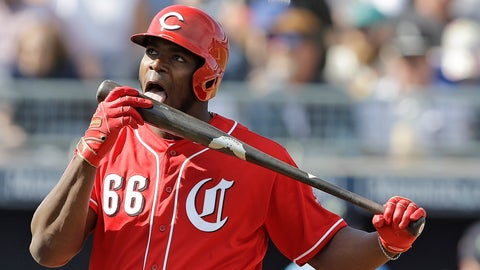 <p>               Cincinnati Reds' Yasiel Puig licks his bat during the third inning of a spring training baseball game against the Seattle Mariners, Monday, Feb. 25, 2019, in Peoria, Ariz. (AP Photo/Darron Cummings)             </p>
