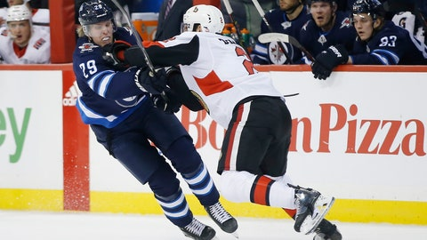 <p>               Winnipeg Jets' Patrik Laine (29) can't get past Ottawa Senators' Dylan DeMelo (2) during the second period of an NHL hockey game Saturday, Feb. 16, 2019, in Winnipeg, Manitoba. (John Woods/The Canadian Press via AP)             </p>