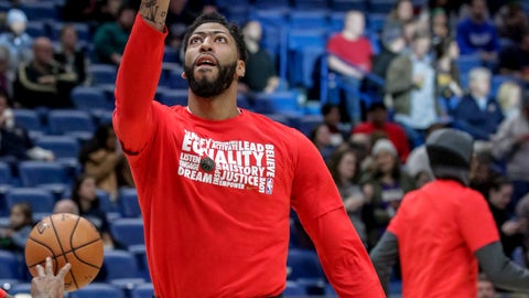 <p>               New Orleans Pelicans forward Anthony Davis warms up for the team's NBA basketball game against the Minnesota Timberwolves, his first game back since injuring his left index finger last month, in New Orleans, Friday, Feb. 8, 2019. (AP Photo/Scott Threlkeld)             </p>