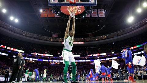 <p>               Boston Celtics' Al Horford stretches before an NBA basketball game against the Philadelphia 76ers, Tuesday, Feb. 12, 2019, in Philadelphia. (AP Photo/Matt Slocum)             </p>