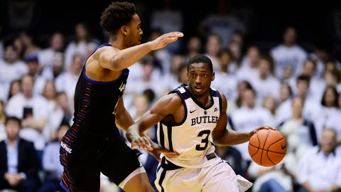 Feb 16, 2019; Indianapolis, IN, USA; Butler Bulldogs guard Kamar Baldwin (3) drives against DePaul Blue Demons forward Mick Sullivan (23) in the second half at Hinkle Fieldhouse. Mandatory Credit: Thomas J. Russo-USA TODAY Sports