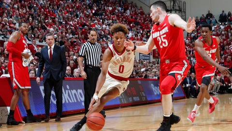 Feb 10, 2019; Bloomington, IN, USA; Indiana Hoosiers guard Romeo Langford (0) drives to the basket against Ohio State Buckeyes forward Kyle Young (25) during the first half at Assembly Hall. Mandatory Credit: Brian Spurlock-USA TODAY Sports