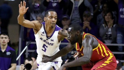 Feb 16, 2019; Manhattan, KS, USA; Iowa State Cyclones guard Marial Shayok (3) is guarded by Kansas State Wildcats guard Barry Brown (5) during the second half at Bramlage Coliseum. Mandatory Credit: Scott Sewell-USA TODAY Sports