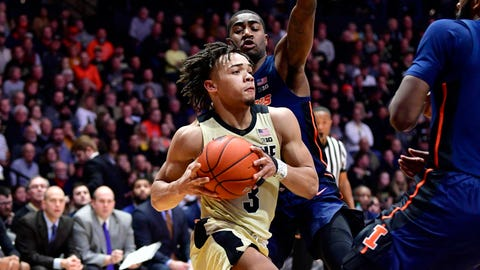 Feb 27, 2019; West Lafayette, IN, USA; Purdue Boilermakers guard Carsen Edwards (3) drives the ball toward the basket against Illinois Fighting Illini guard Da'Monte Williams (20) during the second half of the game at Mackey Arena. The Purdue Boilermakers defeated the Illinois Fighting Illini 73 to 56. Mandatory Credit: Marc Lebryk-USA TODAY Sports