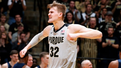 Feb 16, 2019; West Lafayette, IN, USA; Purdue Boilermakers center Matt Haarms (32) reacts after a play against the Penn State Nittany Lions during the second half at Mackey Arena. Mandatory Credit: Brian Spurlock-USA TODAY Sports