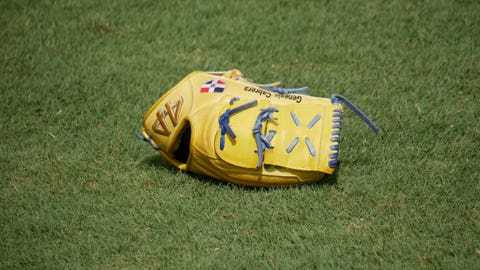 Genesis Cabrera's glove, St. Louis Cardinals Spring Break in Jupiter, Florida.
