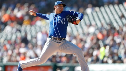 Sep 23, 2018; Detroit, MI, USA; Kansas City Royals starting pitcher Brad Keller (56) pitches the ball during the first inning against the Detroit Tigers at Comerica Park. Mandatory Credit: Raj Mehta-USA TODAY Sports
