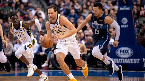 Feb 27, 2019; Dallas, TX, USA; Indiana Pacers forward Bojan Bogdanovic (44) dribbles after stealing the ball from Dallas Mavericks guard Jalen Brunson (13) during the second half at the American Airlines Center. Mandatory Credit: Jerome Miron-USA TODAY Sports