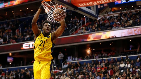 Feb 23, 2019; Washington, DC, USA; Indiana Pacers forward Thaddeus Young (21) dunks the ball as Washington Wizards guard Bradley Beal (3) looks on in the first quarter at Capital One Arena. Mandatory Credit: Geoff Burke-USA TODAY Sports