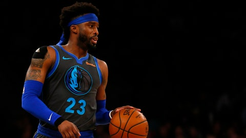 Jan 30, 2019; New York, NY, USA; Dallas Mavericks guard Wesley Matthews (23) looks to pass against the New York Knicks during the first half at Madison Square Garden. Mandatory Credit: Adam Hunger-USA TODAY Sports