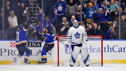 Feb 19, 2019; St. Louis, MO, USA; St. Louis Blues center Ryan O'Reilly (90) celebrates with right wing Vladimir Tarasenko (91) after scoring the game winning goal against Toronto Maple Leafs goaltender Frederik Andersen (31) during overtime at Enterprise Center. Mandatory Credit: Jeff Curry-USA TODAY Sports