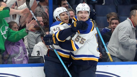 Feb 7, 2019; Tampa, FL, USA; St. Louis Blues center Brayden Schenn (10) celebrates with defenseman Colton Parayko (55) after making the game winning goal during overtime to beat the Tampa Bay Lightning at Amalie Arena. St. Louis won 1-0. Mandatory Credit: Kim Klement-USA TODAY Sports