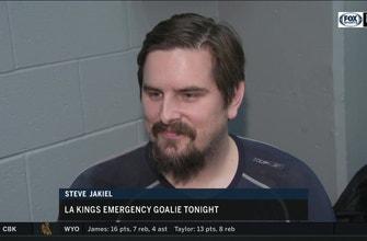 LA Kings emergency goalie Steve Jakiel was ready if needed