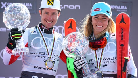 <p>               Austria's Marcel Hirscher, left, and United States' Mikaela Shiffrin hold the World Cup overall trophies, at the alpine ski finals in Soldeu, Andorra, Sunday, March 17, 2019. (AP Photo/Alessandro Trovati)             </p>