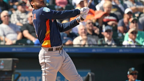 <p>               FILE - In this Thursday, March 7, 2019, file photo, Houston Astros' Carlos Correa follows through on a foul ball during the third inning of a spring training baseball game against the Miami Marlins at the Roger Dean Chevrolet Stadium on in Jupiter, Fla.(David Santiago/Miami Herald via AP, File)             </p>