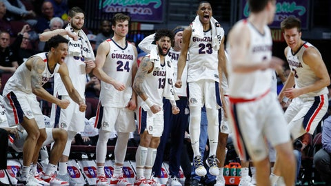 <p>               Gonzaga players celebrate as they lead Pepperdine with seconds left in the second half of an NCAA semifinal college basketball game at the West Coast Conference tournament, Monday, March 11, 2019, in Las Vegas. (AP Photo/John Locher)             </p>