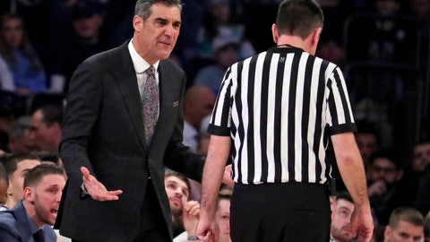 <p>               Villanova head coach Jay Wright, left, talks to referee Pat Driscoll during the first half of an NCAA college basketball game against Seton Hall in the championship of the Big East Conference tournament, Saturday, March 16, 2019, in New York.  Villanova won 74-72. (AP Photo/Julio Cortez)             </p>