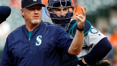 <p>               FILE - In this Aug. 30, 2017, file photo, Seattle Mariners pitching coach Mel Stottlemyre, left, motions for manager Scott Servais to come to the mound during the sixth inning of a baseball game against the Baltimore Orioles in Baltimore. New pitching coach Stottlemyr, whose coaching career in professional baseball began in 2002, said the Marlins' situation is unique in his experience. (AP Photo/Patrick Semansky, File)             </p>
