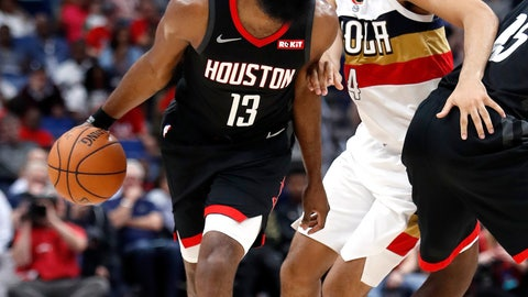 <p>               Houston Rockets guard James Harden (13) drives past New Orleans Pelicans guard Kenrich Williams (34) during the first half of an NBA basketball game in New Orleans, Sunday, March 24, 2019. (AP Photo/Tyler Kaufman)             </p>