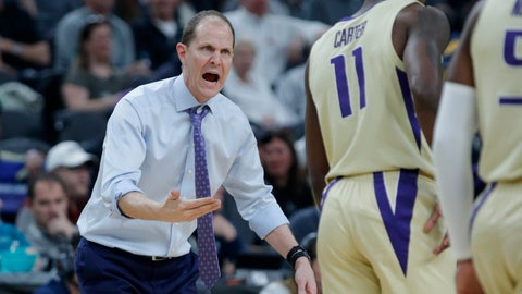 <p>               Washington head coach Mike Hopkins speaks with his players during the first half of an NCAA college basketball game against Colorado in the semifinals of the Pac-12 men's tournament Friday, March 15, 2019, in Las Vegas. (AP Photo/John Locher)             </p>