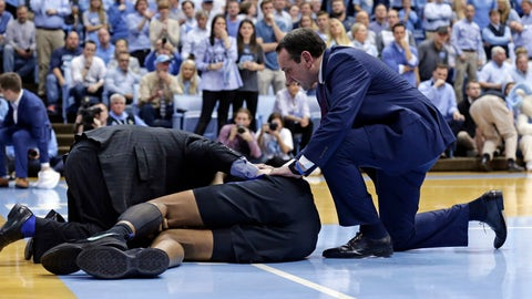 <p>               Duke head coach Mike Krzyzewski checks on an injured Marques Bolden during the first half of an NCAA college basketball game against North Carolina in Chapel Hill, N.C., Saturday, March 9, 2019. (AP Photo/Gerry Broome)             </p>