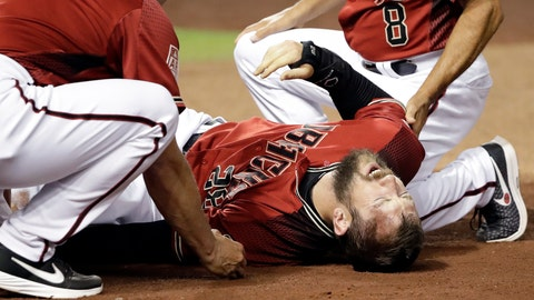 <p>               Arizona Diamondbacks' Steven Souza Jr. lies on the field after getting injured while scoring against the Chicago White Sox in the fourth inning of a spring training baseball game Monday, March 25, 2019, in Phoenix. (AP Photo/Elaine Thompson)             </p>