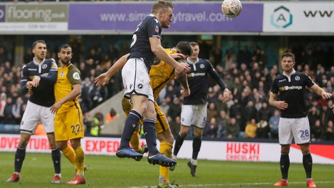 <p>               Millwall's Alex Pearce scores a goal during the English FA Cup quarterfinal soccer match between Millwall and Brighton & Hove Albion at The Den in London, Sunday March 17, 2019. (AP Photo/Tim Ireland)             </p>
