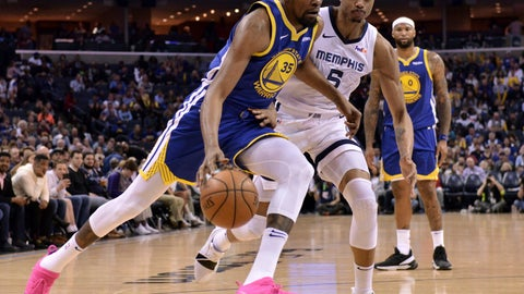 <p>               Golden State Warriors forward Kevin Durant (35) drives against Memphis Grizzlies forward Bruno Caboclo (5) during the second half of an NBA basketball game Wednesday, March 27, 2019, in Memphis, Tenn. (AP Photo/Brandon Dill)             </p>